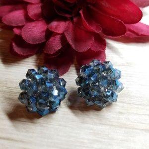 Blue Crystal Cluster Stud Earrings